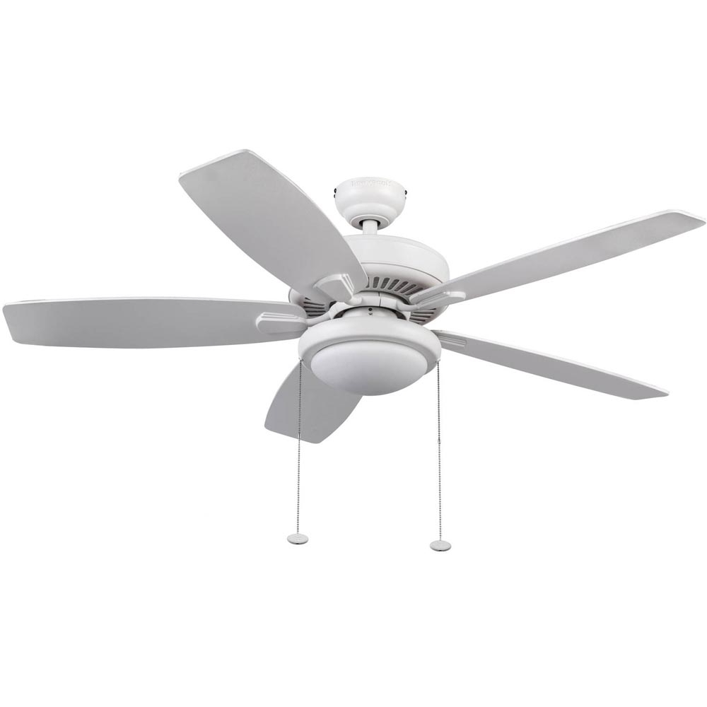 Most Recent Outdoor Ceiling Fans With Led Globe Pertaining To Honeywell Blufton Outdoor & Indoor Ceiling Fan, White, 52 Inch (View 7 of 20)