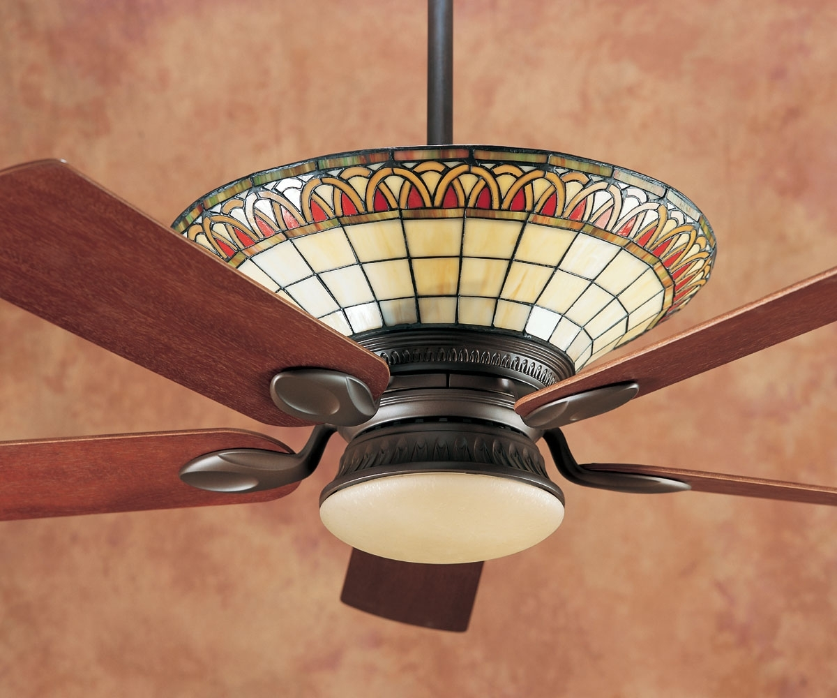 Most Recently Released Craftsman Outdoor Ceiling Fans Within Stained Glass Apple Ceiling Fan : Home Design – Stained Glass (View 11 of 20)