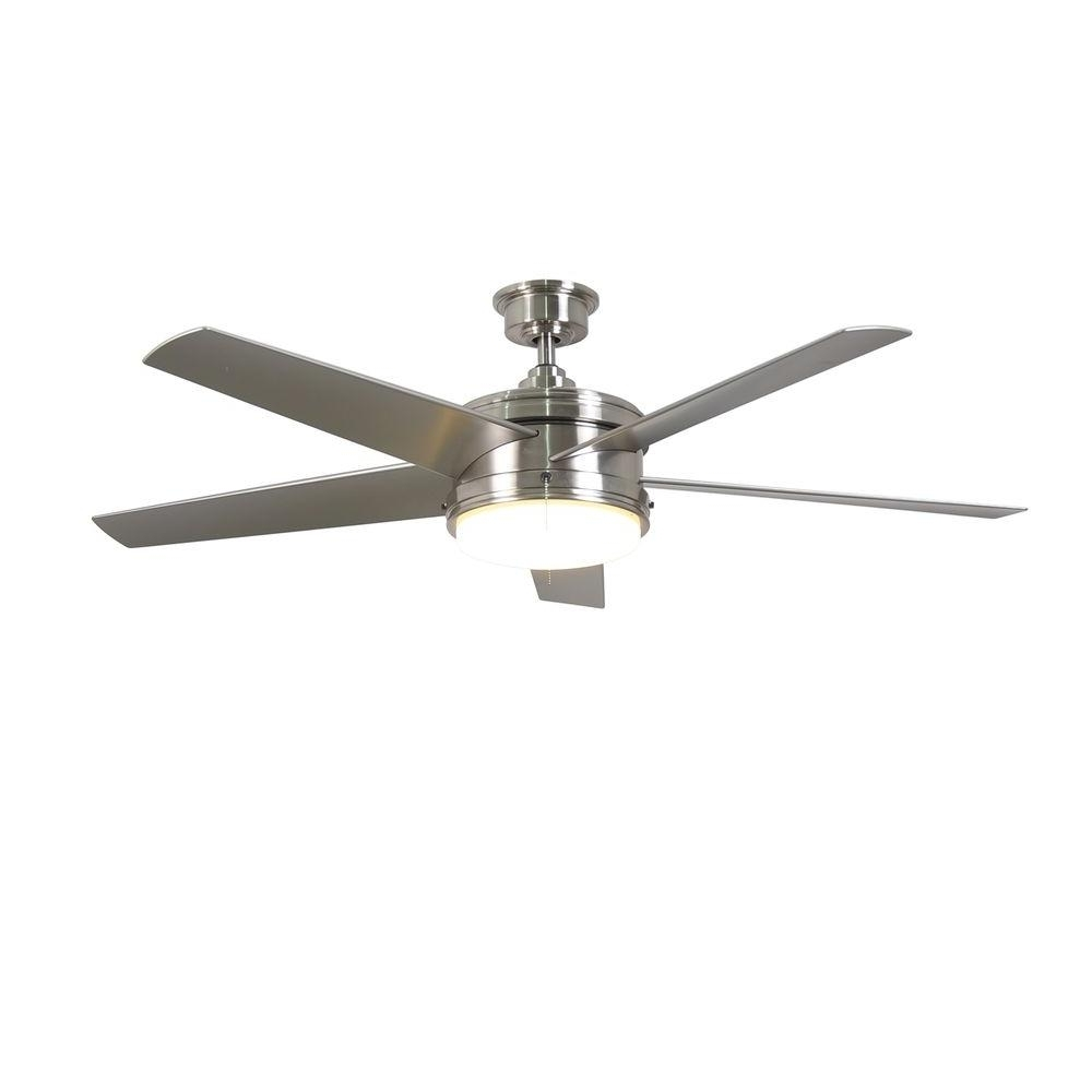 Most Recently Released Home Decorators Collection Portwood 60 In Led Indoor, Home Depot Throughout Brushed Nickel Outdoor Ceiling Fans (View 16 of 20)