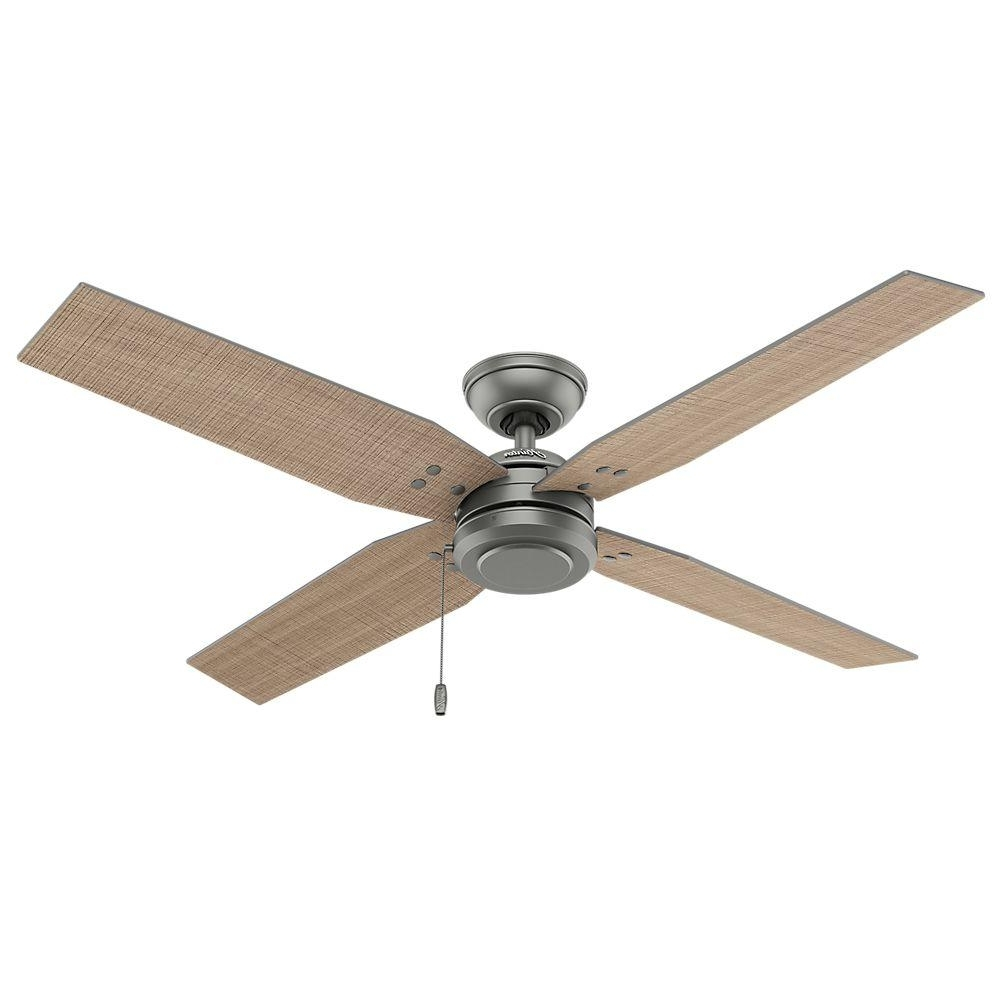 Most Up To Date Hunter Commerce 54 In. Indoor/outdoor Matte Silver Ceiling Fan 59187 Inside Outdoor Ceiling Fans With Hook (Gallery 13 of 20)