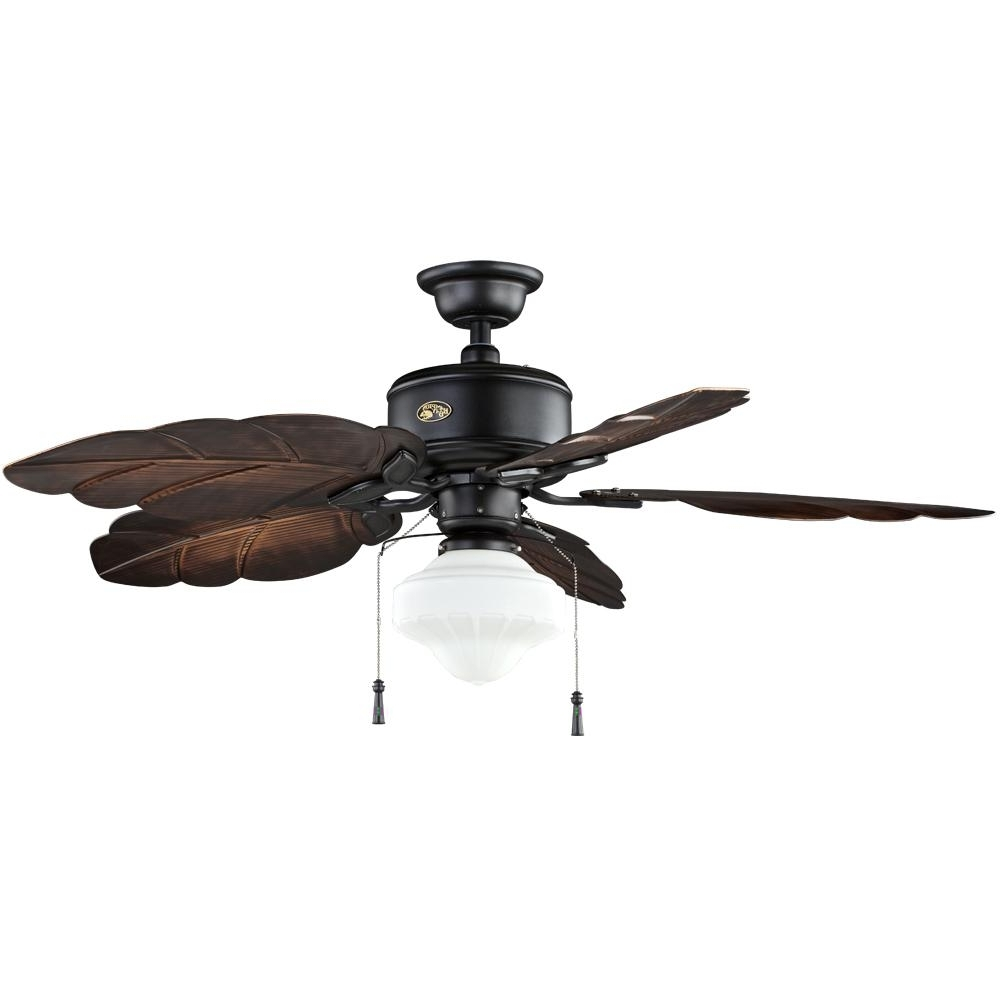 Most Up To Date Outdoor Ceiling Fans With Schoolhouse Light Inside Hampton Bay Nassau 52 In. Led Indoor/outdoor Gilded Iron Ceiling Fan (Gallery 8 of 20)