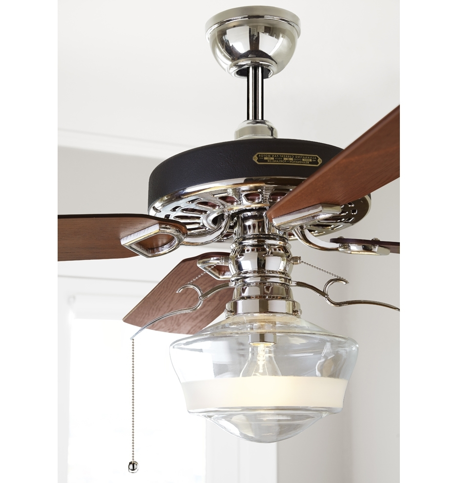 Most Up To Date Outdoor Ceiling Fans With Schoolhouse Light Regarding Heron Ceiling Fan With Ogee Schoolhouse Single Satin Stripe Shade (Gallery 16 of 20)