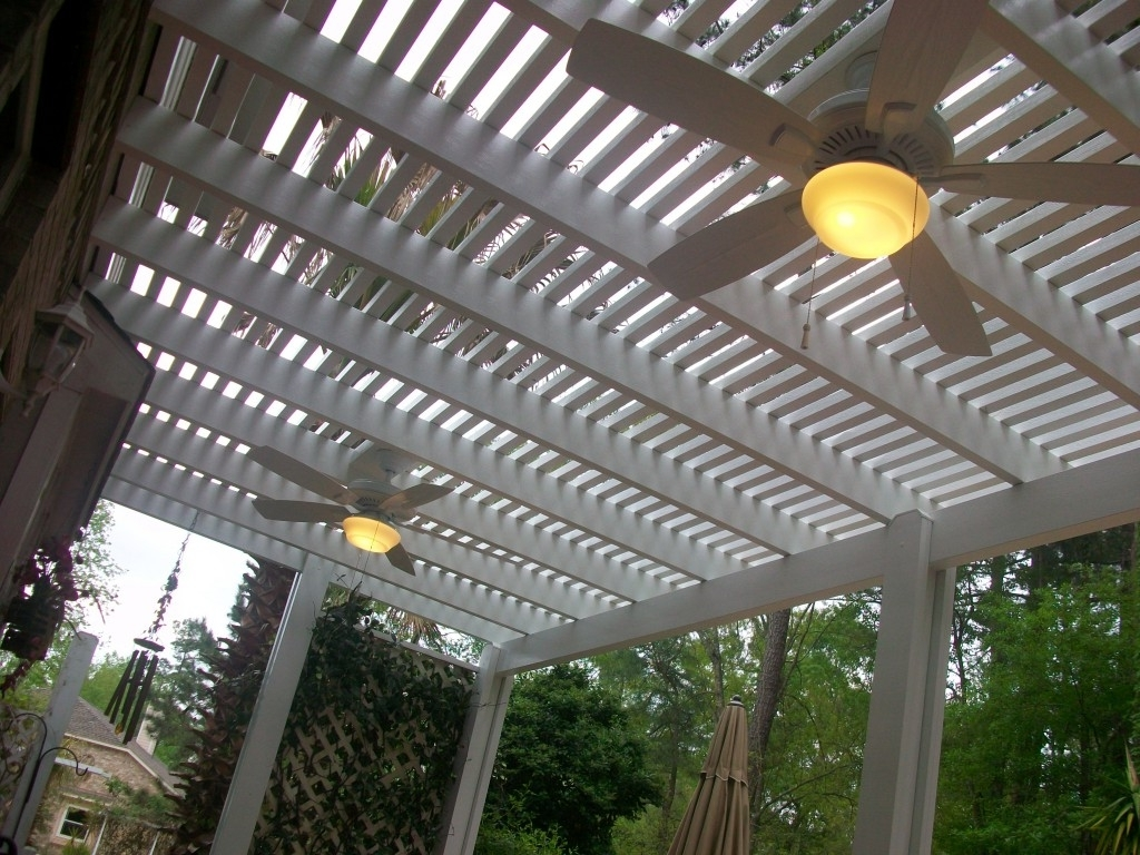 Most Up To Date Pergola Ceiling Fans With Lighting Options – Lone Star Patio Throughout Outdoor Ceiling Fans Under Pergola (View 16 of 20)