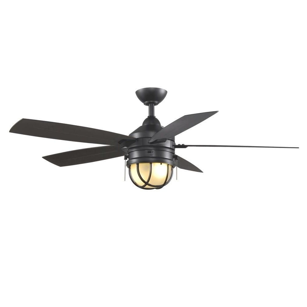 Nautical Outdoor Ceiling Fans With Lights Inside 2018 Hampton Bay Seaport 52 In. Indoor/outdoor Natural Iron Ceiling Fan (Gallery 20 of 20)