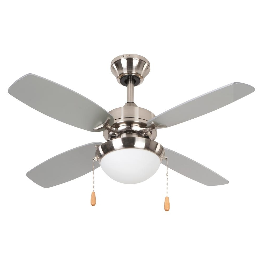 Newest 36 Inch Outdoor Ceiling Fans With Light Flush Mount Pertaining To Yosemite Home Decor Ashley 36 In. Bright Brushed Nickel Ceiling Fan (Gallery 8 of 20)