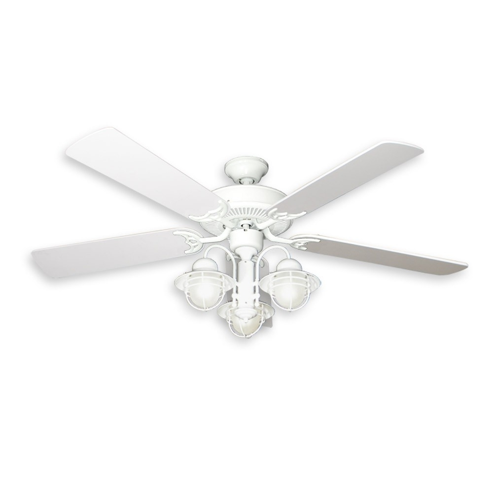"""Newest 52"""" Nautical Ceiling Fan With Light – Pure White Finish – Unique Inside Outdoor Ceiling Fans With Dimmable Light (View 9 of 20)"""
