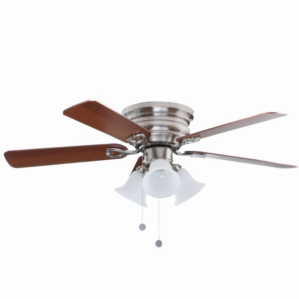 Newest Hampton Bay Clarkston 44 In. Brushed Nickel Ceiling Fan With Light Within Outdoor Ceiling Fans With Mason Jar Lights (Gallery 17 of 20)