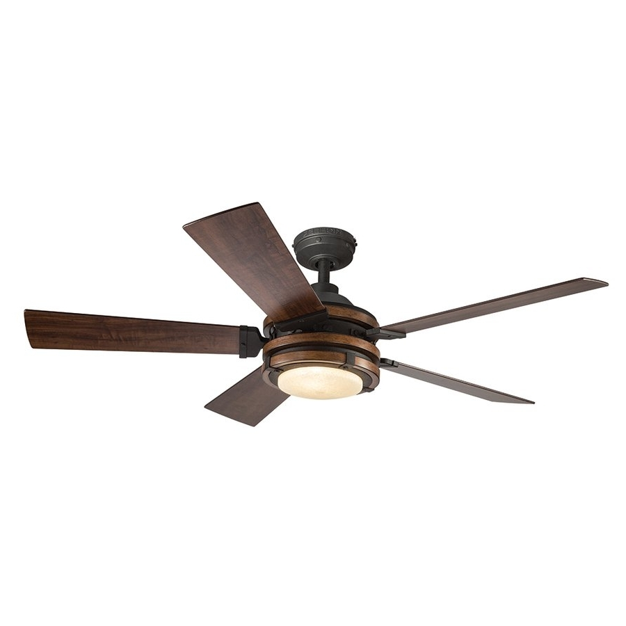 Newest Outdoor Ceiling Fans At Kichler Within Kichler Lighting 52 In Distressed Black And Wood Ceiling Fan (Gallery 14 of 20)