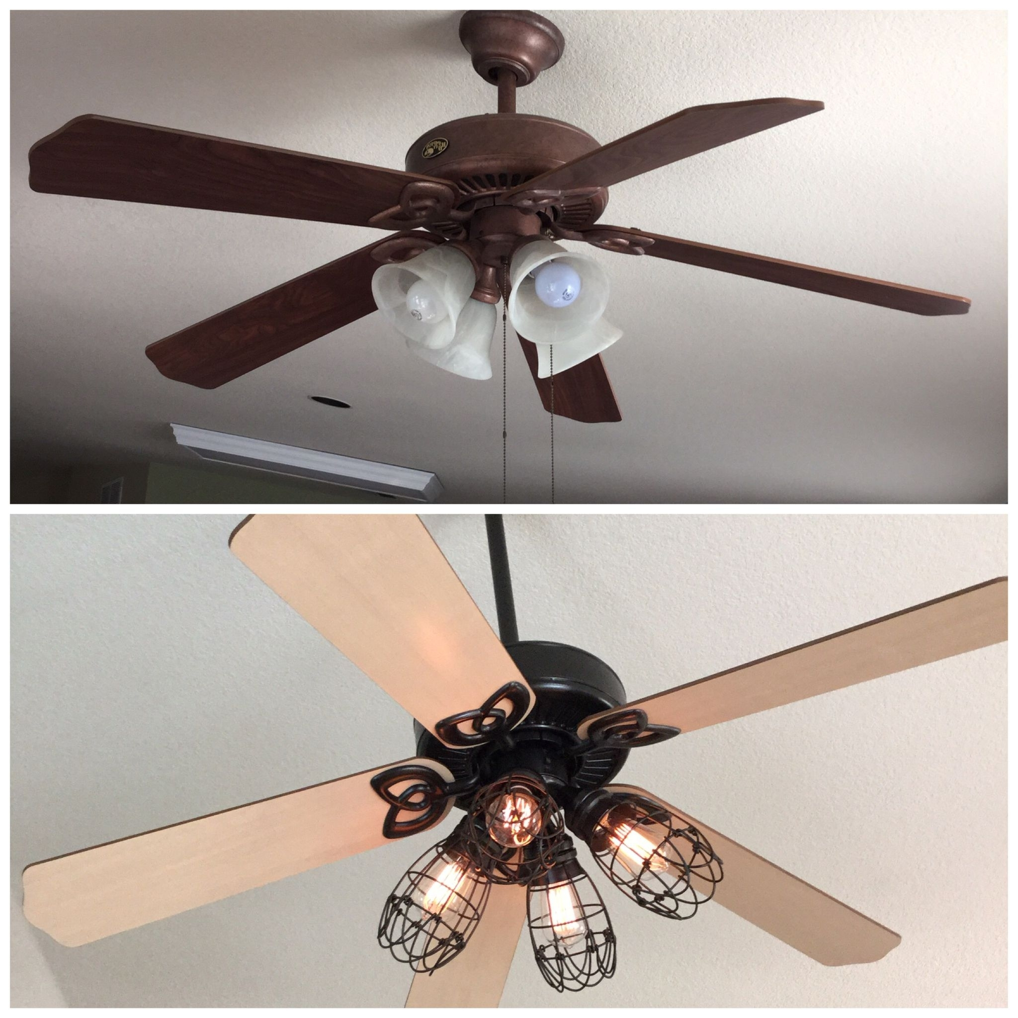 Newest Outdoor Ceiling Fans With Guard Intended For Diy Ceiling Fan Makeover: Add Cage Bulb Guards And Edison Bulbs (View 10 of 20)