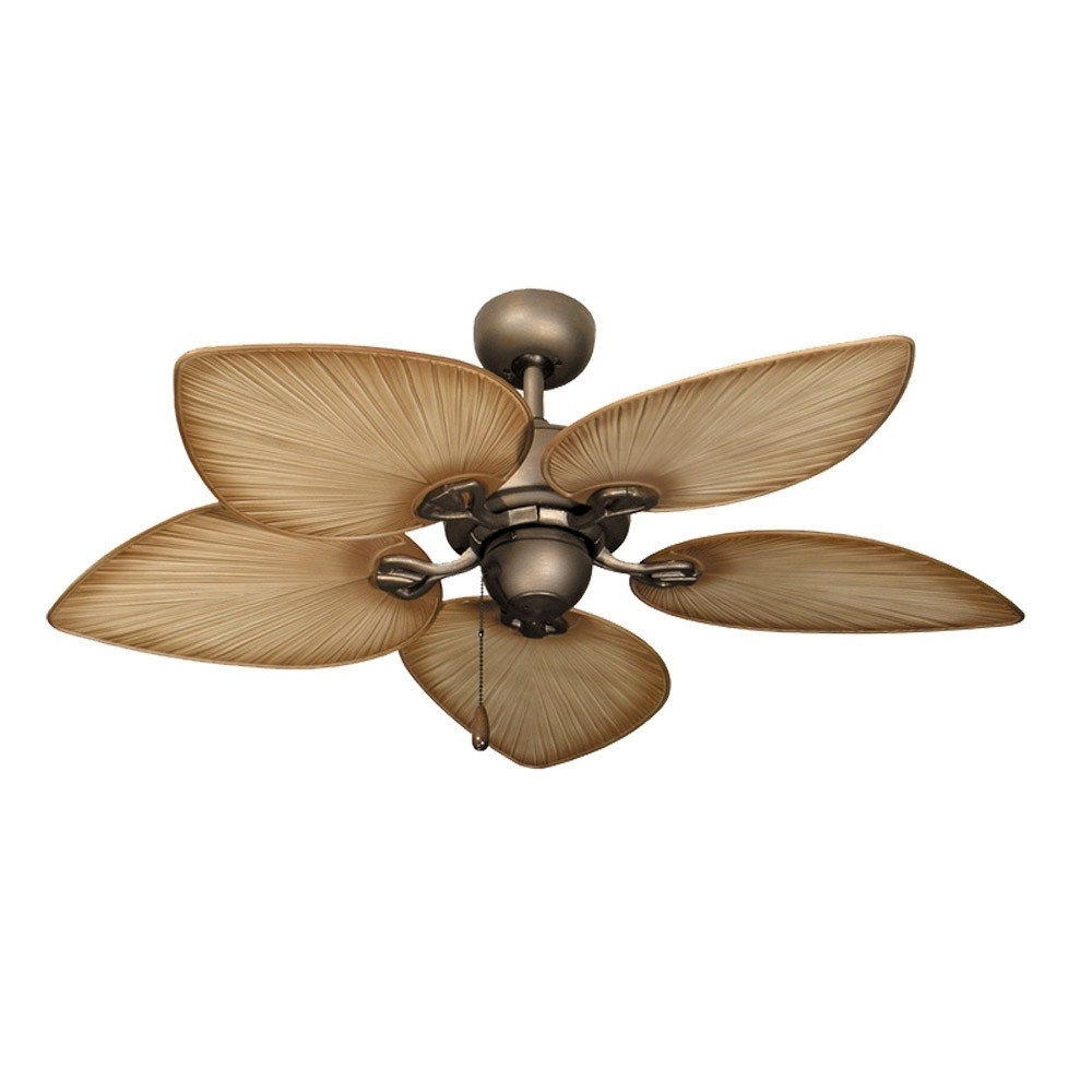 Newest Outdoor Ceiling Fans With Palm Blades Regarding Tropical Ceiling Fans With Palm Leaf Blades, Bamboo, Rattan And More (Gallery 1 of 20)