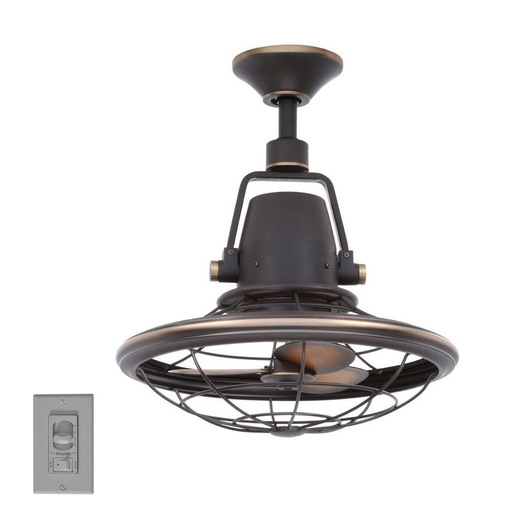 Outdoor Caged Ceiling Fans With Light Within Preferred Home Decorators Collection Bentley Ii 18 In (View 14 of 20)