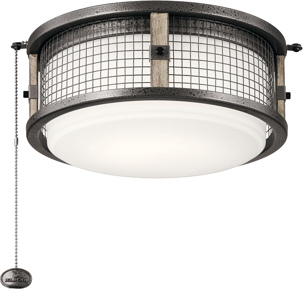 Outdoor Ceiling Fan Light Fixtures Within Newest Kichler 380949Avi Ahrendale Contemporary Anvil Iron Led Indoor (View 18 of 20)