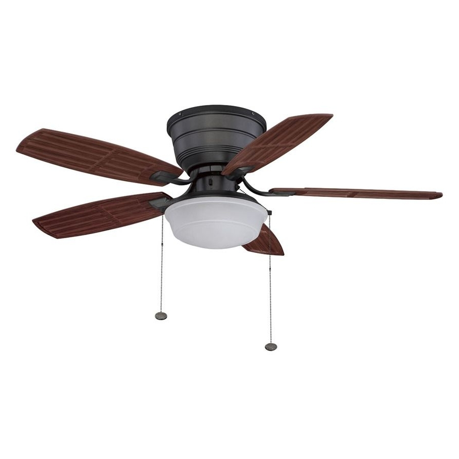 Outdoor Ceiling Fans Flush Mount With Light Pertaining To Widely Used Shop Litex 44 In Natural Iron Outdoor Flush Mount Ceiling Fan With (View 5 of 20)