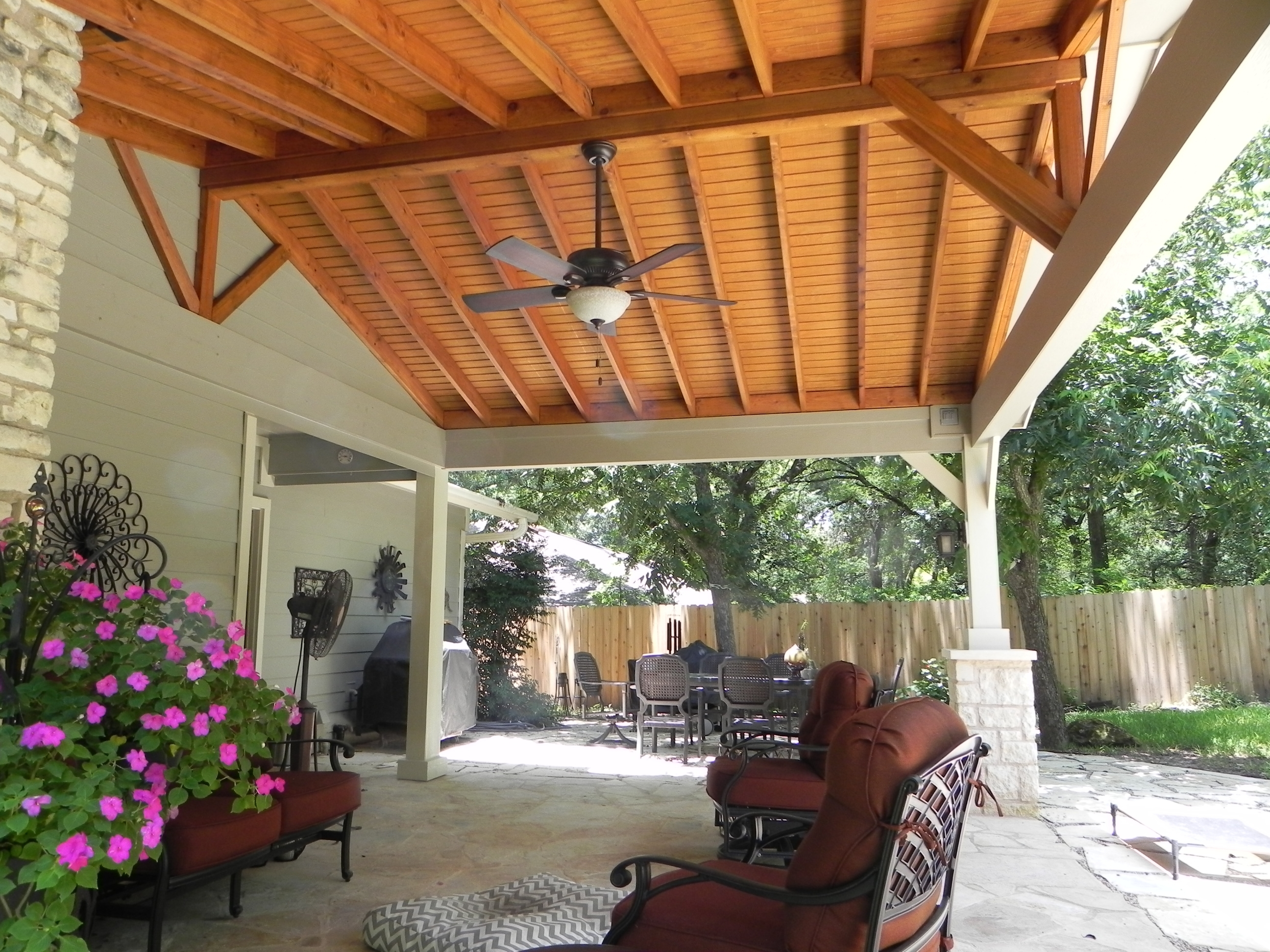 Outdoor Ceiling Fans For Pergola With Well Known Austin Custom Covered Patios (View 20 of 20)