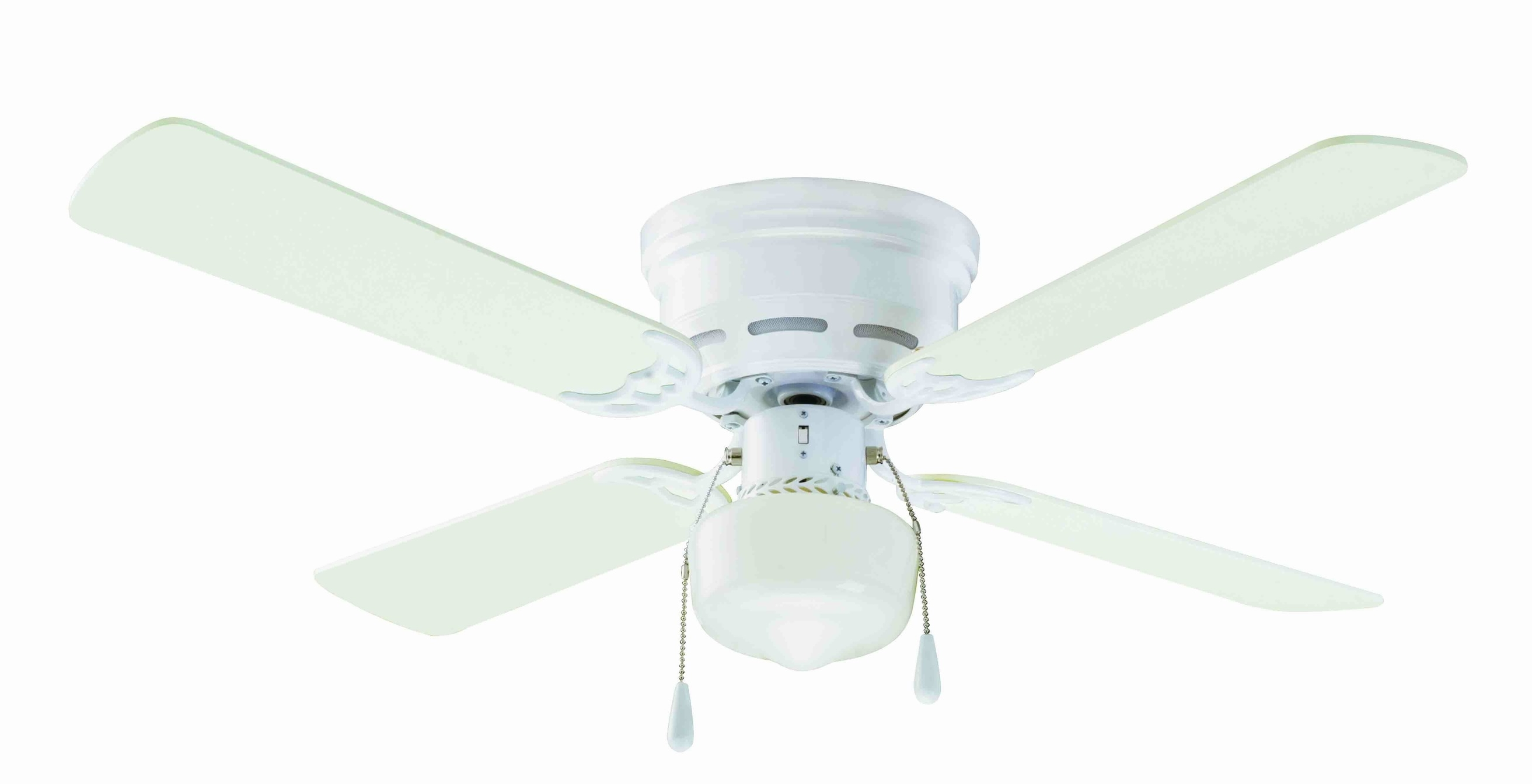 "Outdoor Ceiling Fans Under $50 Regarding Most Recent 42"" Mainstays Hugger Indoor Ceiling Fan With Light, White – Walmart (Gallery 17 of 20)"