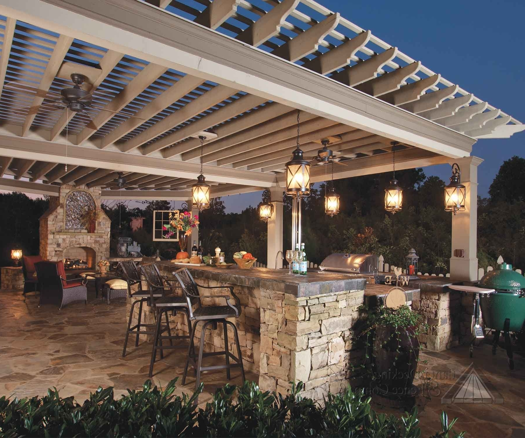 Outdoor Ceiling Fans Under Pergola For 2019 The Serving Area May Have A Raised Bar With Stools To Allow Guests (Gallery 14 of 20)