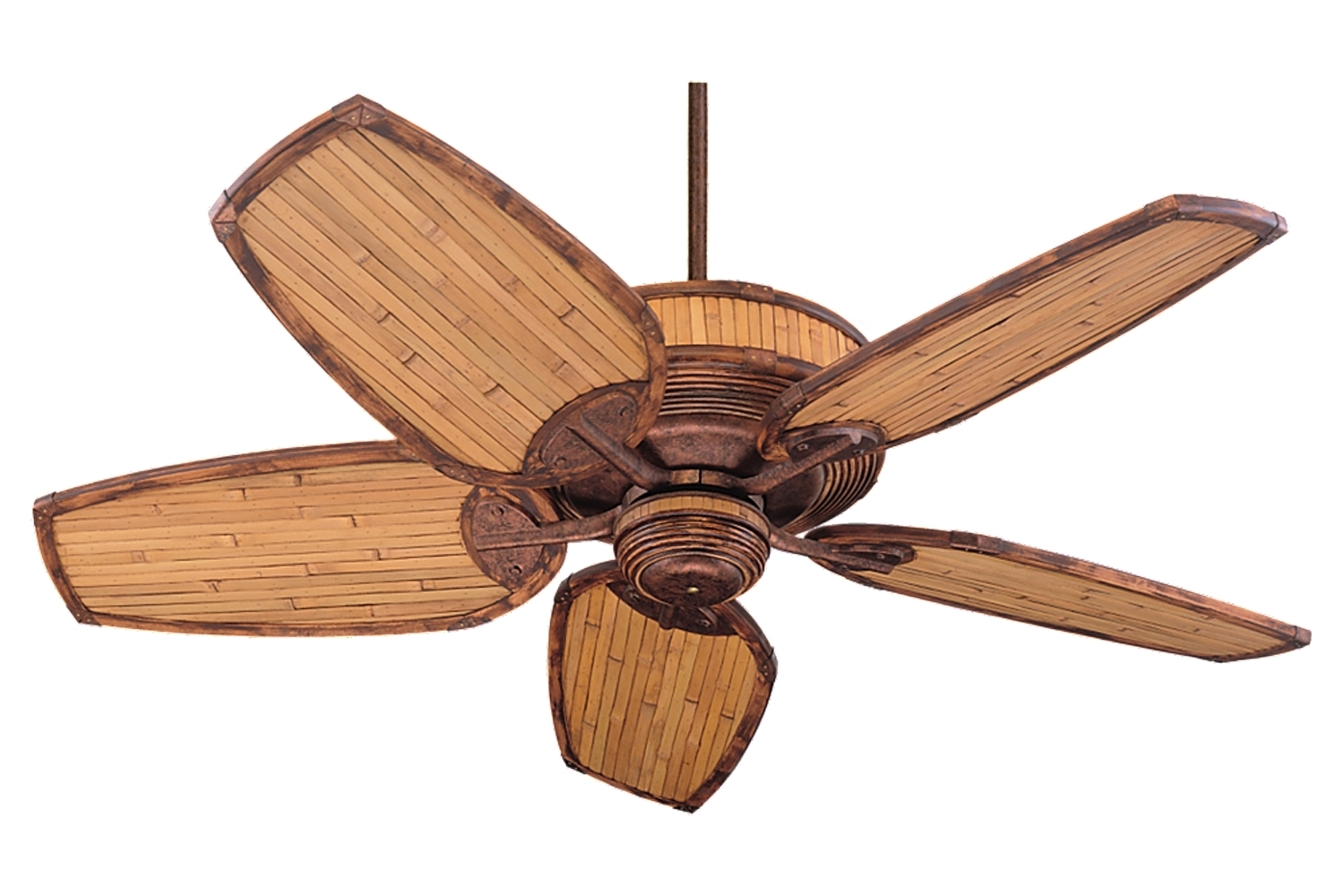 "Outdoor Ceiling Fans With Bamboo Blades Inside Famous 5ml52fb,52"" Mandalay Fan – Florentine Bronze / Natural Bamboo (View 14 of 20)"