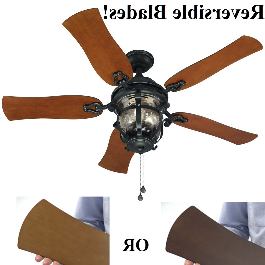 "Outdoor Ceiling Fans With Downrod Inside Current 52"" Ceiling Fan With Light Kit Aged Iron Outdoor Indoor Downrod Or (View 12 of 20)"