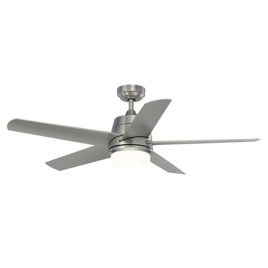 Outdoor Ceiling Fans With Downrod Throughout Well Known Shop Fanimation Studio Collection Berlin 52 In Brushed Nickel Indoor (View 5 of 20)