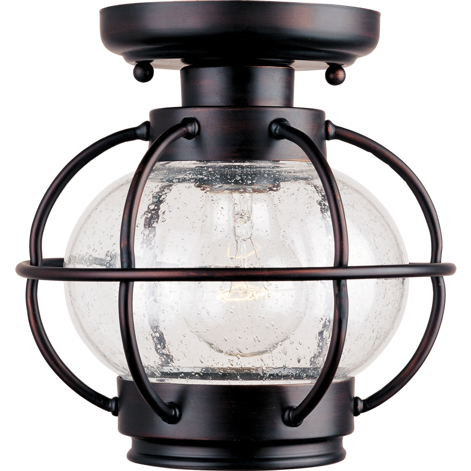 Outdoor Ceiling Fans With Lantern Light With Regard To Fashionable Maxim Lighting International Portsmouth Outdoor Semi Flush Ceiling (Gallery 20 of 20)