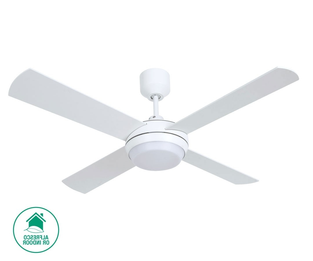 Outdoor Ceiling Fans With Led Globe For Most Current Altitude Eco 132cm Fan With Led Light In White (Gallery 13 of 20)