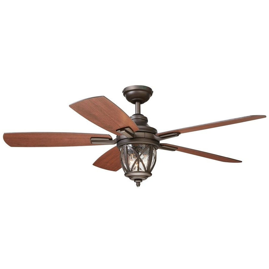 Outdoor Ceiling Fans With Lights And Remote Control With Regard To Fashionable Shop Allen + Roth Castine 52 In Rubbed Bronze Downrod Or Close Mount (Gallery 16 of 20)