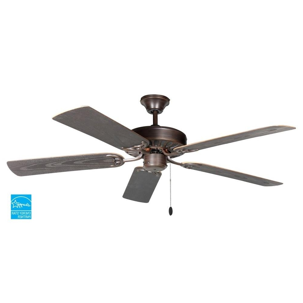 Outdoor Ceiling Fans With Long Downrod Within Trendy Troposair Proseries Builder 52 In. Oil Rubbed Bronze Outdoor Ceiling (Gallery 6 of 20)