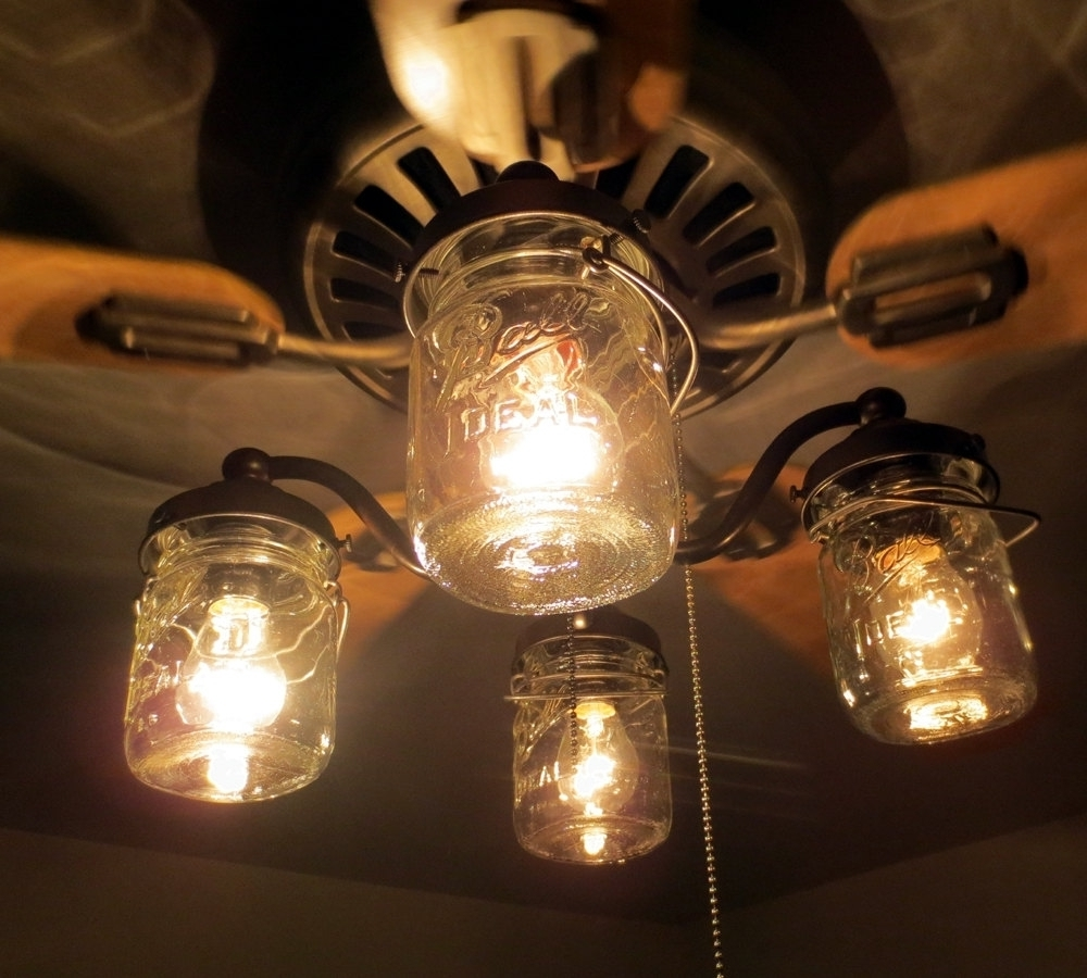 Outdoor Ceiling Fans With Mason Jar Lights In Fashionable Unique Ceiling Fan With Mason Jar Shades Light Kit Fans Within (Gallery 5 of 20)