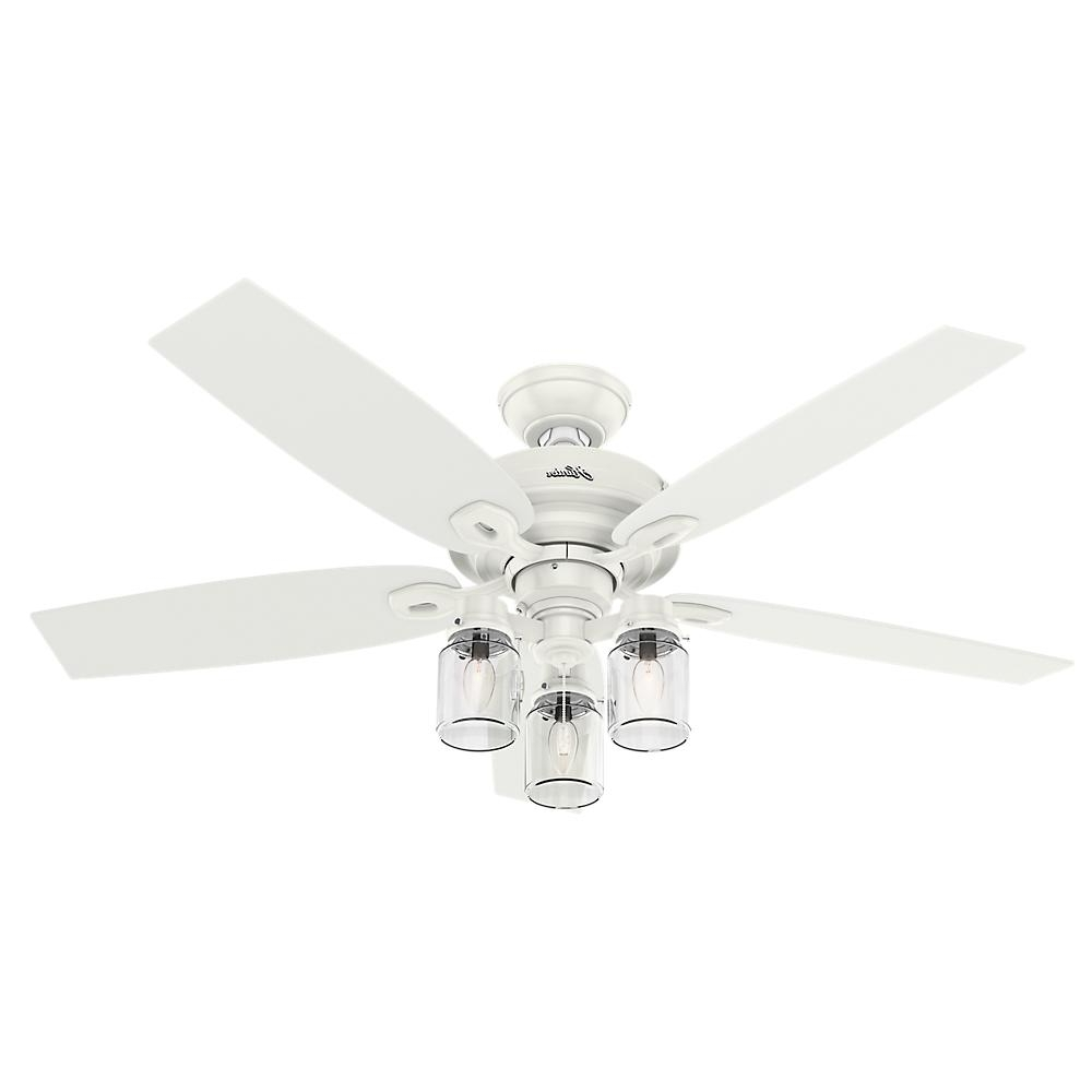 Outdoor Ceiling Fans With Mason Jar Lights Pertaining To Most Up To Date Hunter Crown Canyon 52 In. Indoor Fresh White Ceiling Fan 53361 (Gallery 16 of 20)