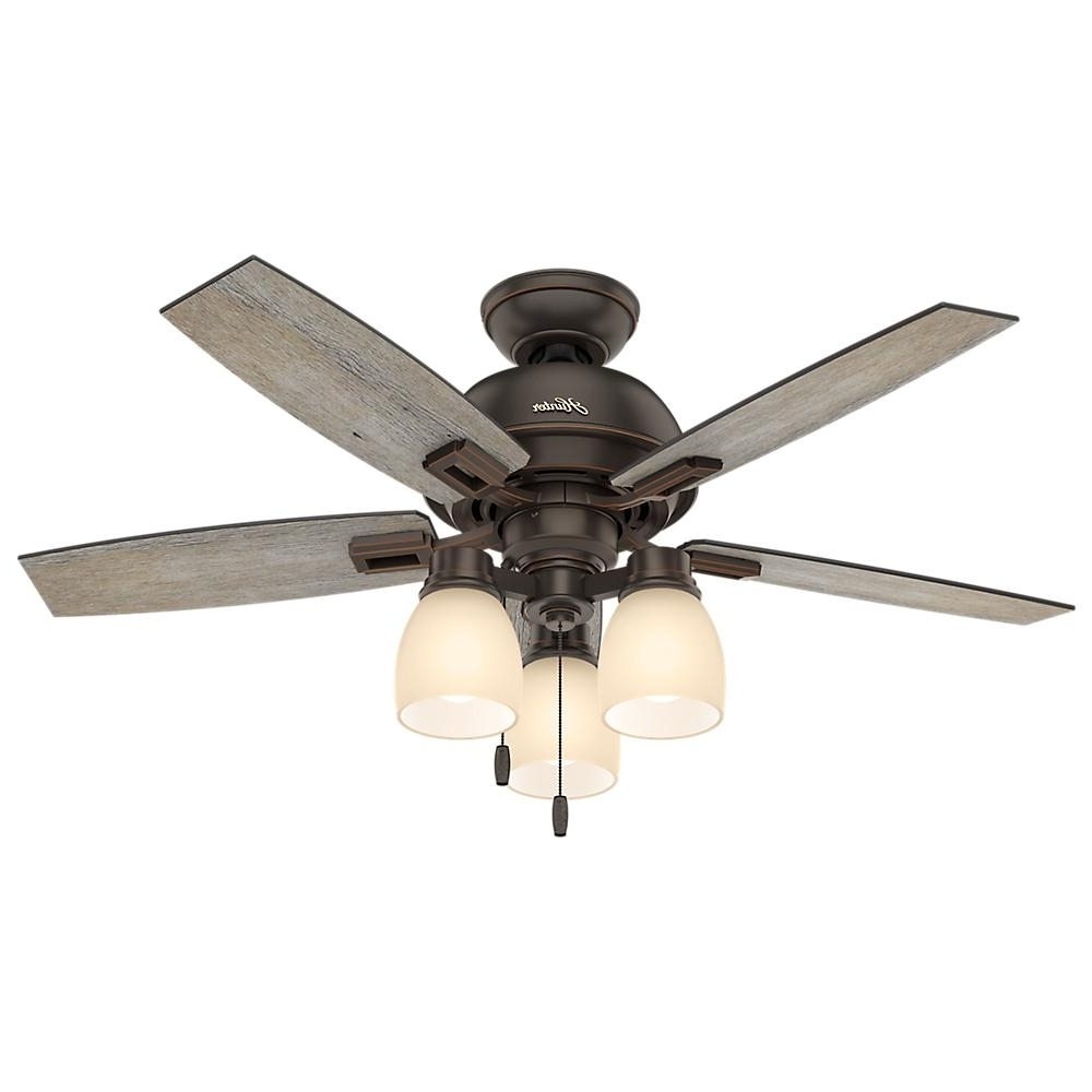 Outdoor Ceiling Fans With Mason Jar Lights With Recent Hunter Donegan 44 In. Led 3 Light Indoor Onyx Bengal Bronze Ceiling (Gallery 18 of 20)