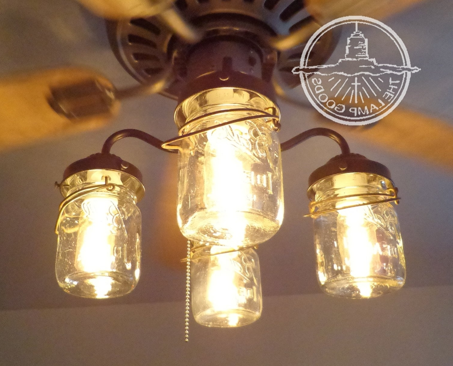 Outdoor Ceiling Fans With Mason Jar Lights Within Most Current Rustic Mason Jar Ceiling Fan Light Kit Only With Vintage Pints (View 17 of 20)