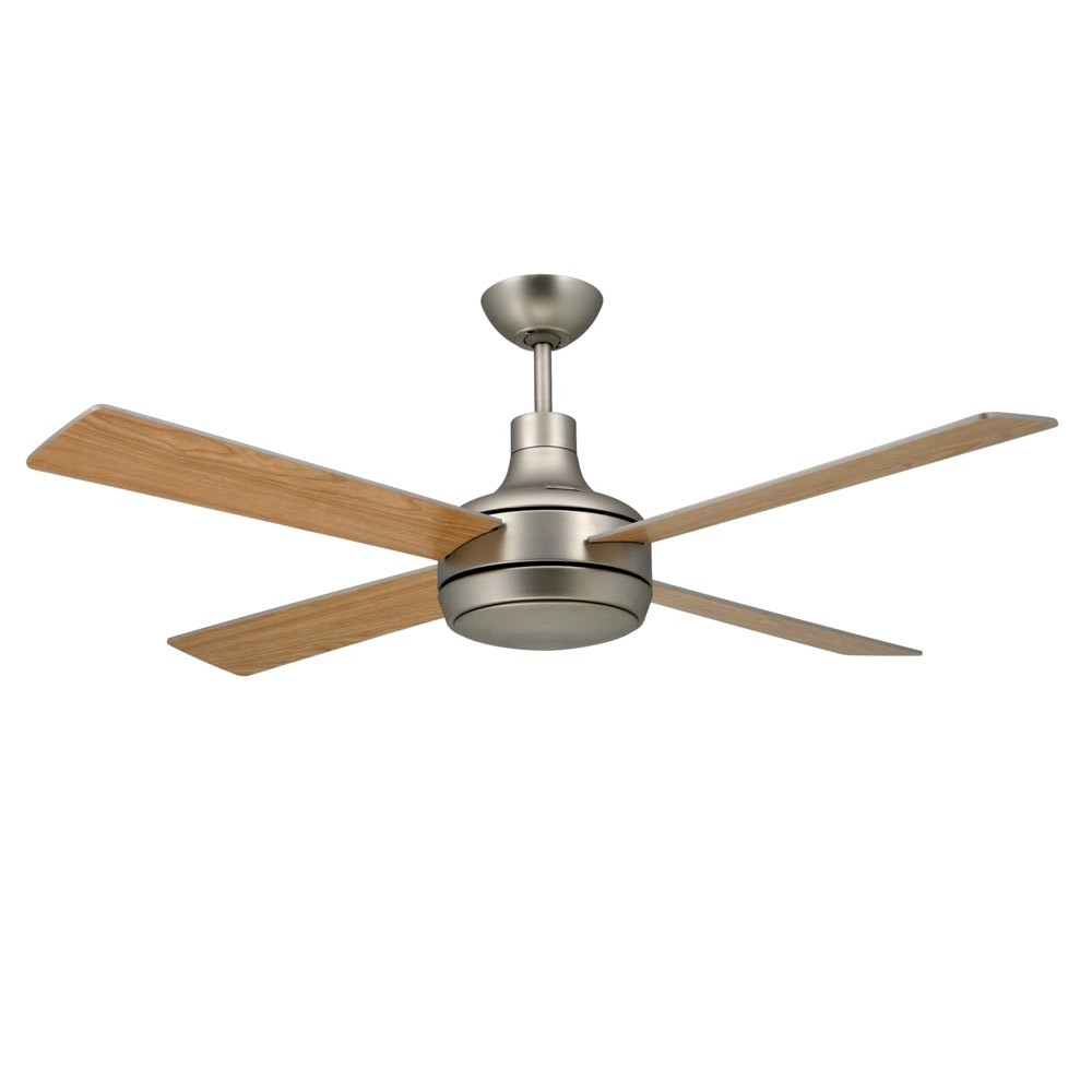 Outdoor Ceiling Fans With Metal Blades With Current Quantum Ceilingtroposair Fans Satin Steel Finish With Optional (Gallery 17 of 20)