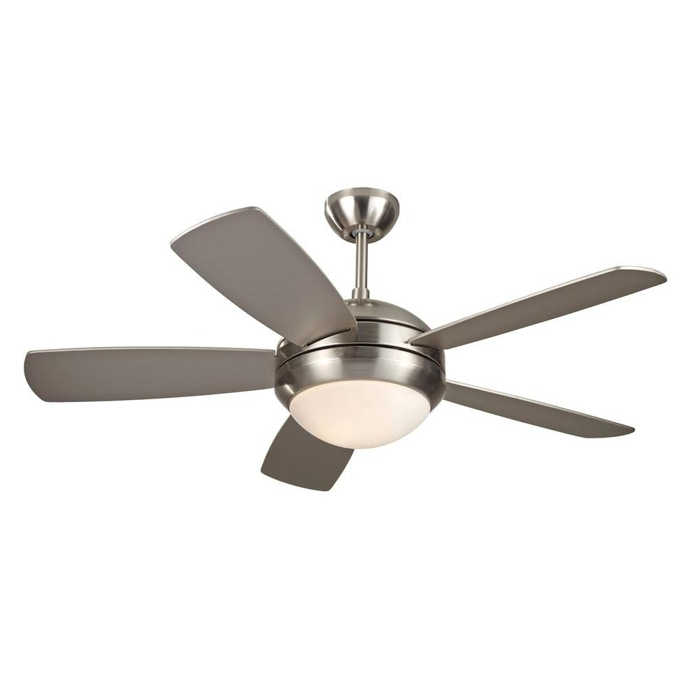 Outdoor Ceiling Fans With Motion Light Within Well Liked Monte Carlo Discus Ii 44 In. Indoor Brushed Steel Ceiling Fan With (Gallery 1 of 20)