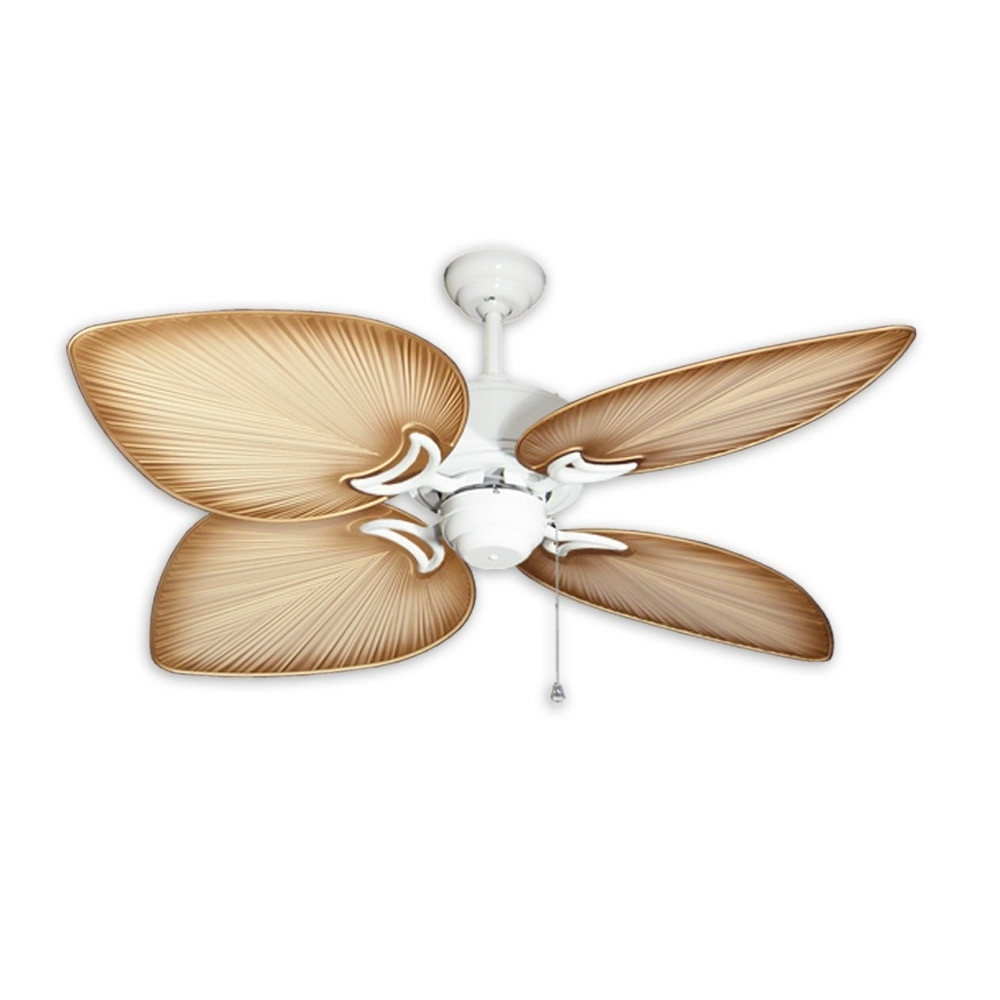 Outdoor Ceiling Fans With Palm Blades In Most Recent Tropical Ceiling Fans With Palm Leaf Blades, Bamboo, Rattan And More (Gallery 10 of 20)