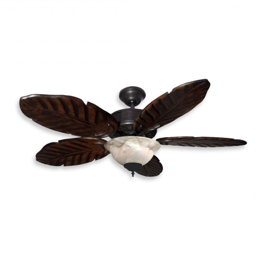 "Outdoor Ceiling Fans With Palm Blades In Well Known 42"" Tropical Ceiling Fan With Light Kit – 300W Max (View 14 of 20)"