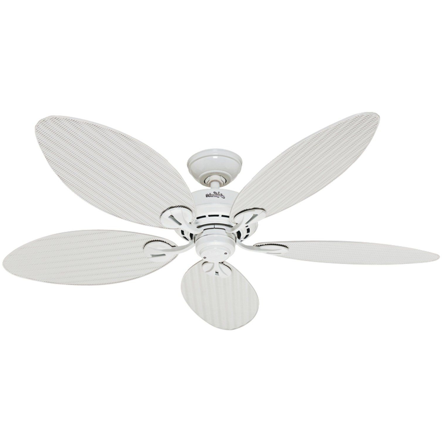 Outdoor Ceiling Fans With Plastic Blades In Current Hunter Fan Company 54097 Bayview 54 Inch Etl Damp Listed Ceiling Fan (View 11 of 20)