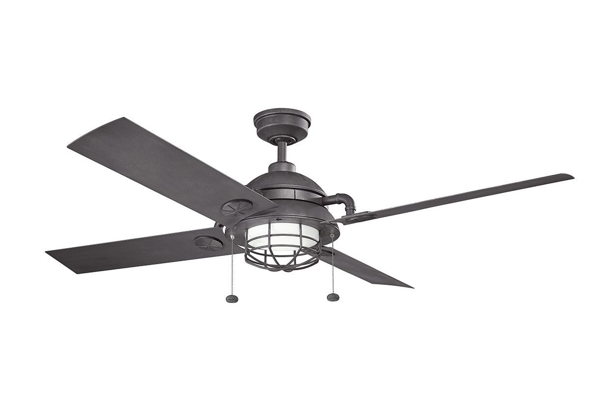 "Outdoor Ceiling Fans With Pull Chain With Most Recent Kichler 310136Dbk Distressed Black 65"" Outdoor Led Ceiling Fan With (Gallery 8 of 20)"