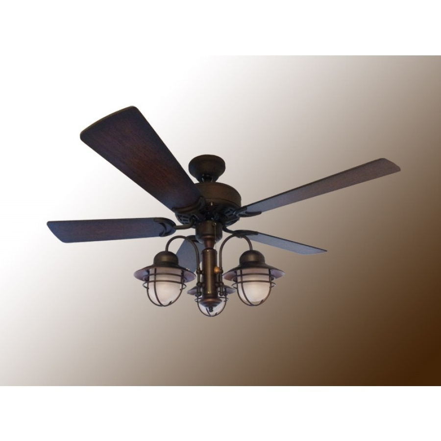 "Outdoor Ceiling Fans With Removable Blades Within Best And Newest 42"" Nautical Ceiling Fan With Light – Outdoor Dixie Belle (View 14 of 20)"