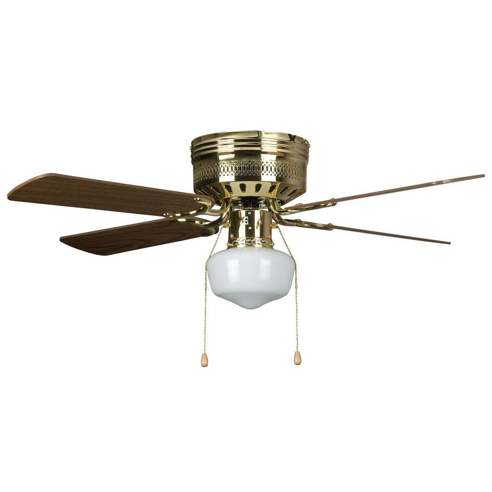 Outdoor Ceiling Fans With Schoolhouse Light In Best And Newest Concord Fans Hugger Schoolhouse Series 42 In. Indoor Polished Brass (Gallery 2 of 20)