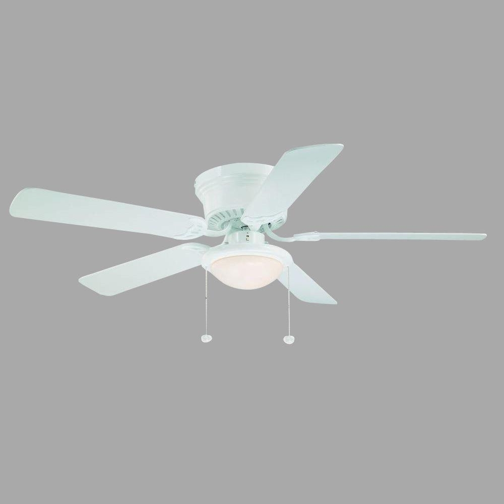 Outdoor Ceiling Fans With Schoolhouse Light Pertaining To Best And Newest Hampton Bay Hugger 52 In White Ceiling Fan With Light Good Kitchen (View 11 of 20)