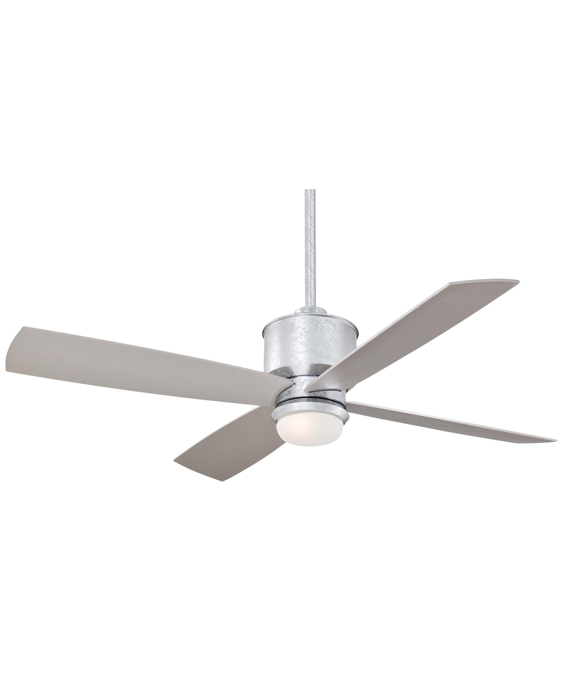 Popular Galvanized Outdoor Ceiling Fans With Light With Regard To Minka Aire F734 Strata 52 Inch 4 Blade Ceiling Fan (View 14 of 20)