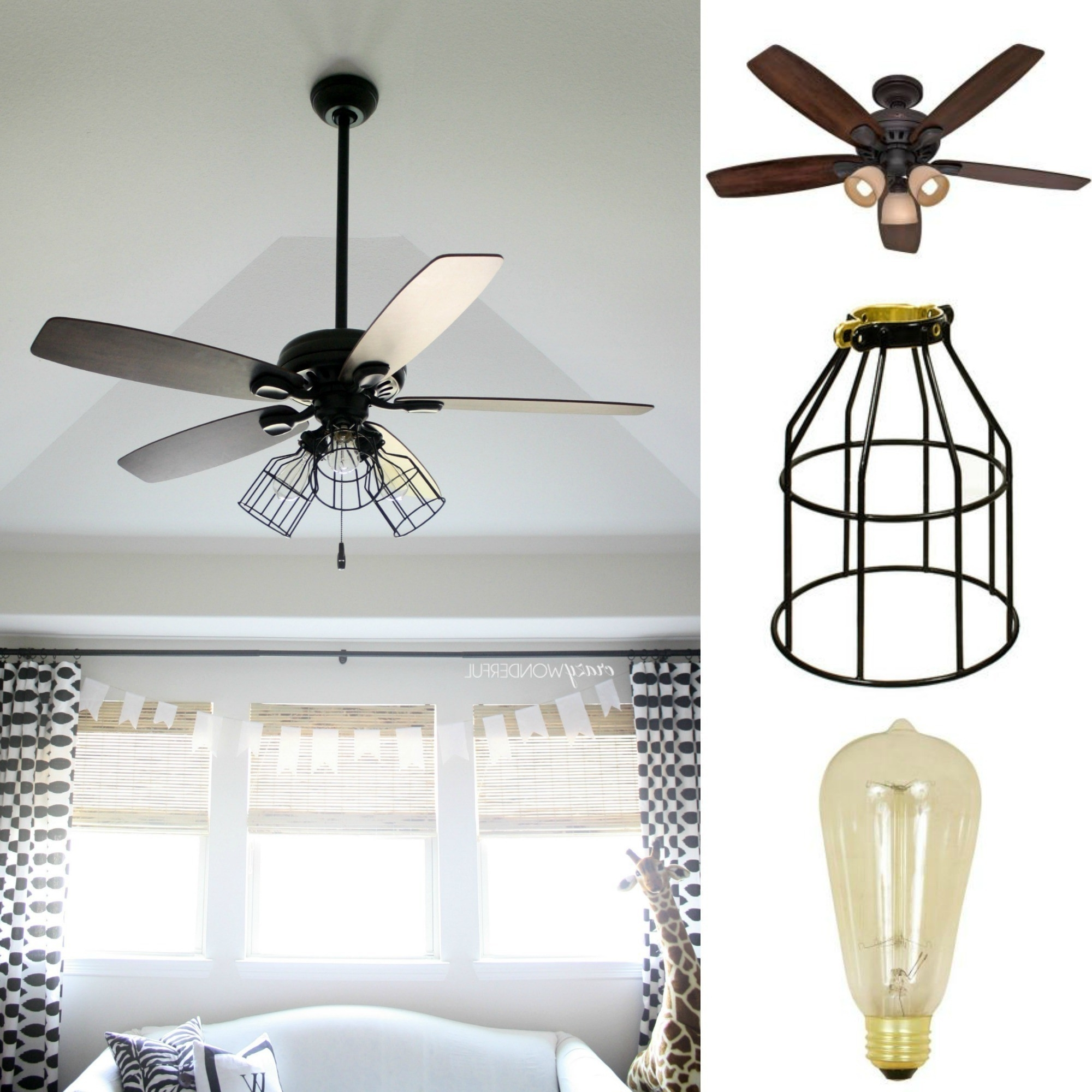 Popular Outdoor Caged Ceiling Fans With Light Pertaining To Diy Cage Light Ceiling Fan · A Hanging Light · Home + Diy On Cut Out (View 17 of 20)
