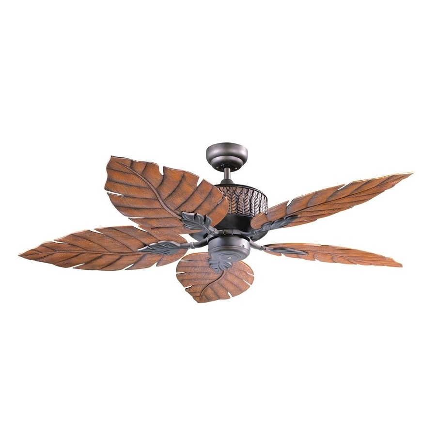 Popular Outdoor Ceiling Fans With Leaf Blades Throughout Shop Kendal Lighting Fern Leaf 52 In Oil Rubbed Bronze Indoor (View 12 of 20)