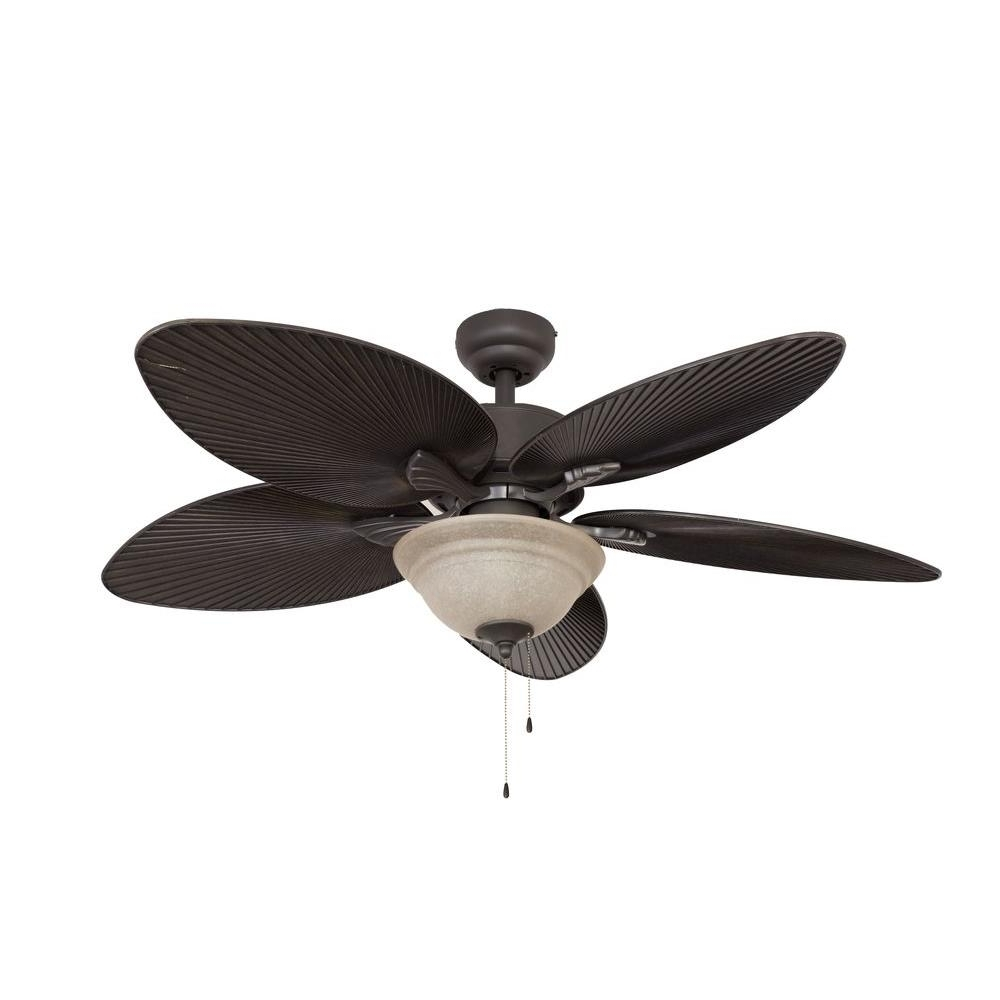 Popular Tropical Outdoor Ceiling Fans Regarding Sahara Fans St. Croix 52 In. Bronze Ceiling Fan 10056 – The Home Depot (Gallery 5 of 20)
