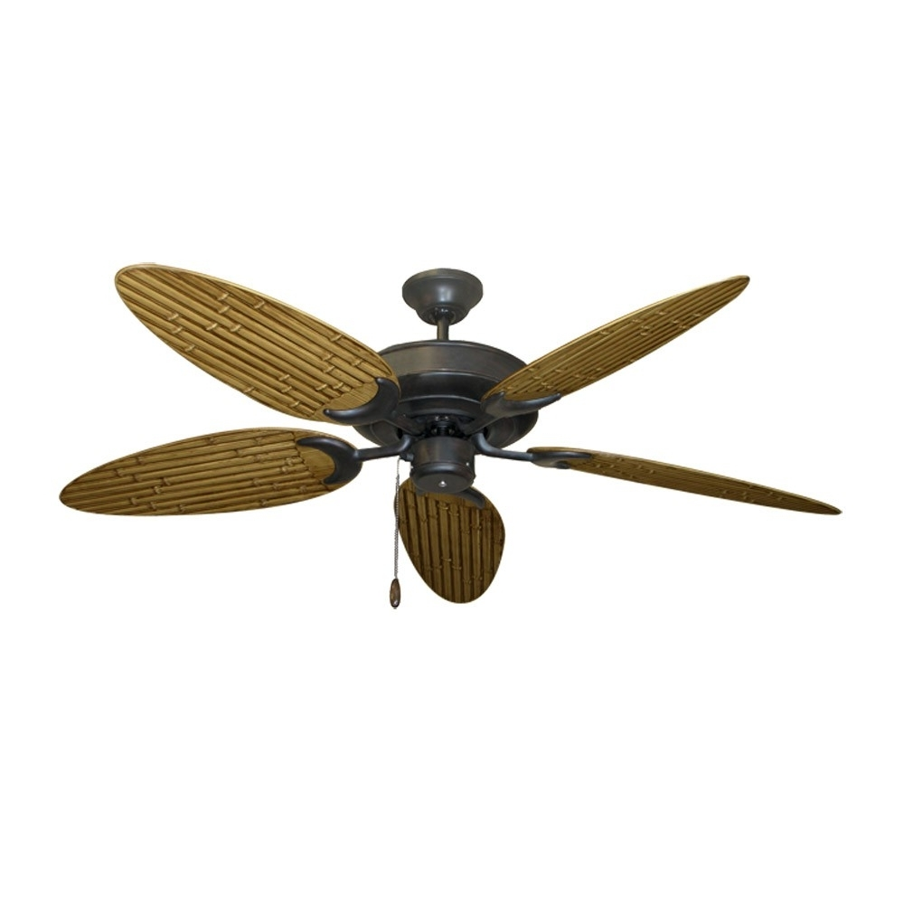 Preferred Outdoor Ceiling Fans With Leaf Blades Regarding Tropical Ceiling Fans With Palm Leaf Blades, Bamboo, Rattan And More (View 19 of 20)