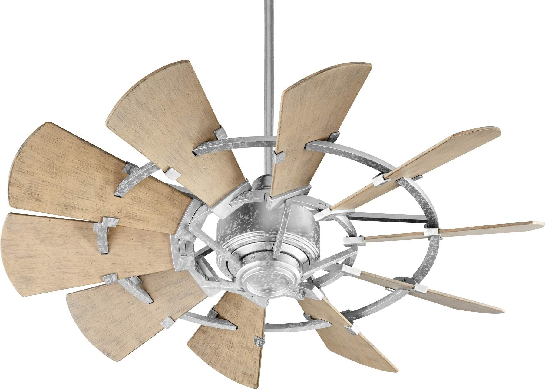 Preferred Quorum Windmill Ceiling Fan Model 194410 9 In Galvanized Inside Outdoor Windmill Ceiling Fans With Light (View 8 of 20)
