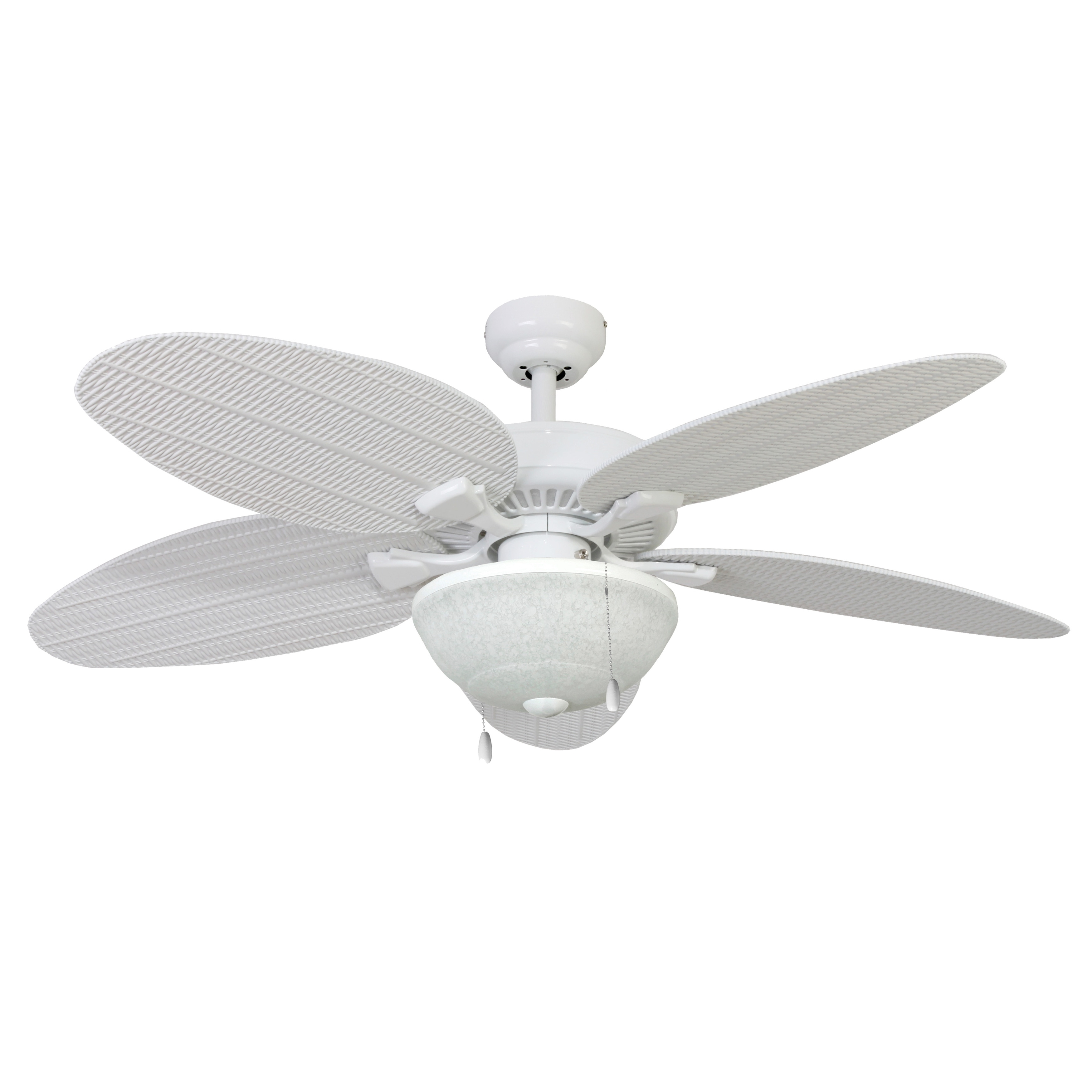 Preferred Wicker Outdoor Ceiling Fans With Lights Throughout Shop Ecosure Siesta Key 52 Inch Tropical, White Bowl Light Indoor (View 12 of 20)
