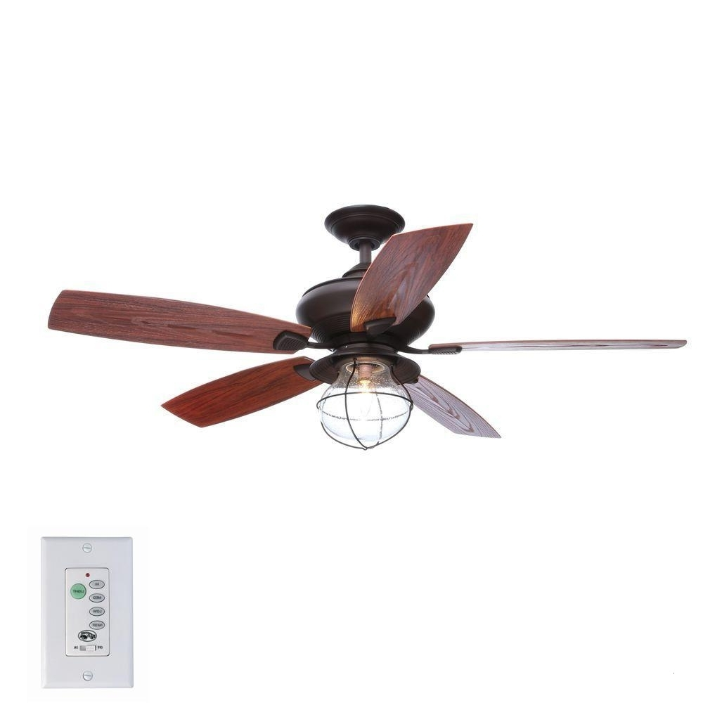 Recent Indoor Outdoor Ceiling Fans With Lights And Remote With Regard To Outdoor Ceiling Fans With Light And Remote Attractive Hampton Bay (View 9 of 20)