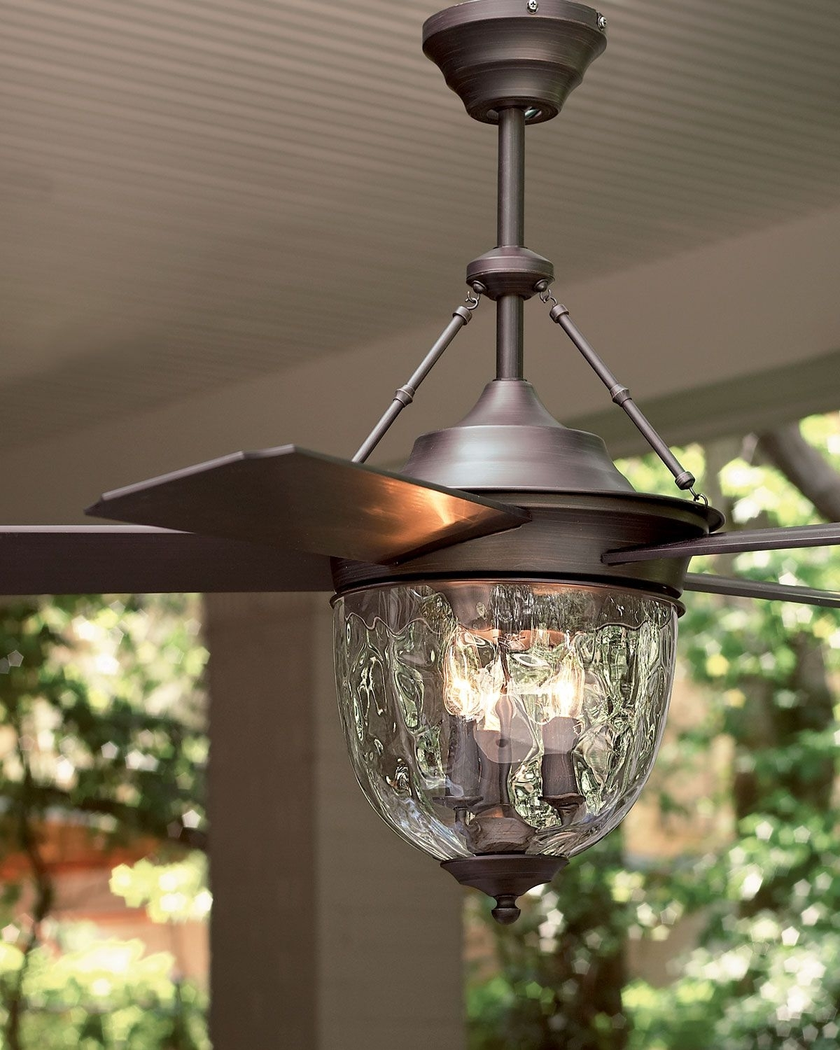 Recent Waterproof Outdoor Ceiling Fans Regarding Dark Aged Bronze Outdoor Ceiling Fan With Lantern (View 19 of 20)