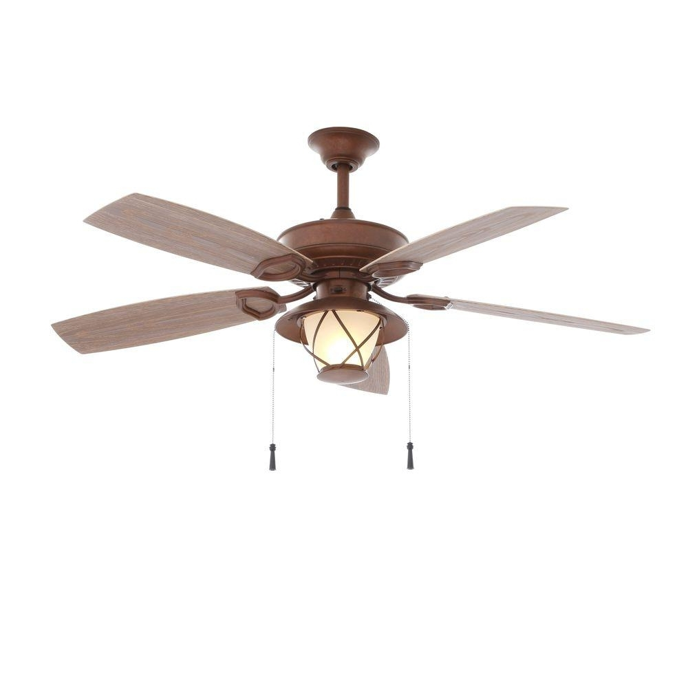 Rustic Outdoor Ceiling Fans With Lights Pertaining To Newest Hampton Bay Glacier Bay 52 In (View 15 of 20)